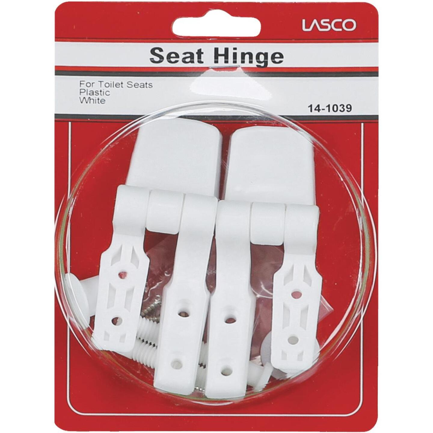"Lasco 3/8"" x 2-1/2"" White Plastic Toilet Seat Hinge for Bemis Image 2"