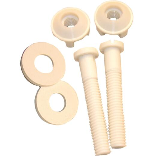 "Lasco 3/8"" x 2-1/4"" White Plastic Toilet Seat Bolt, Includes Nuts and Washers"
