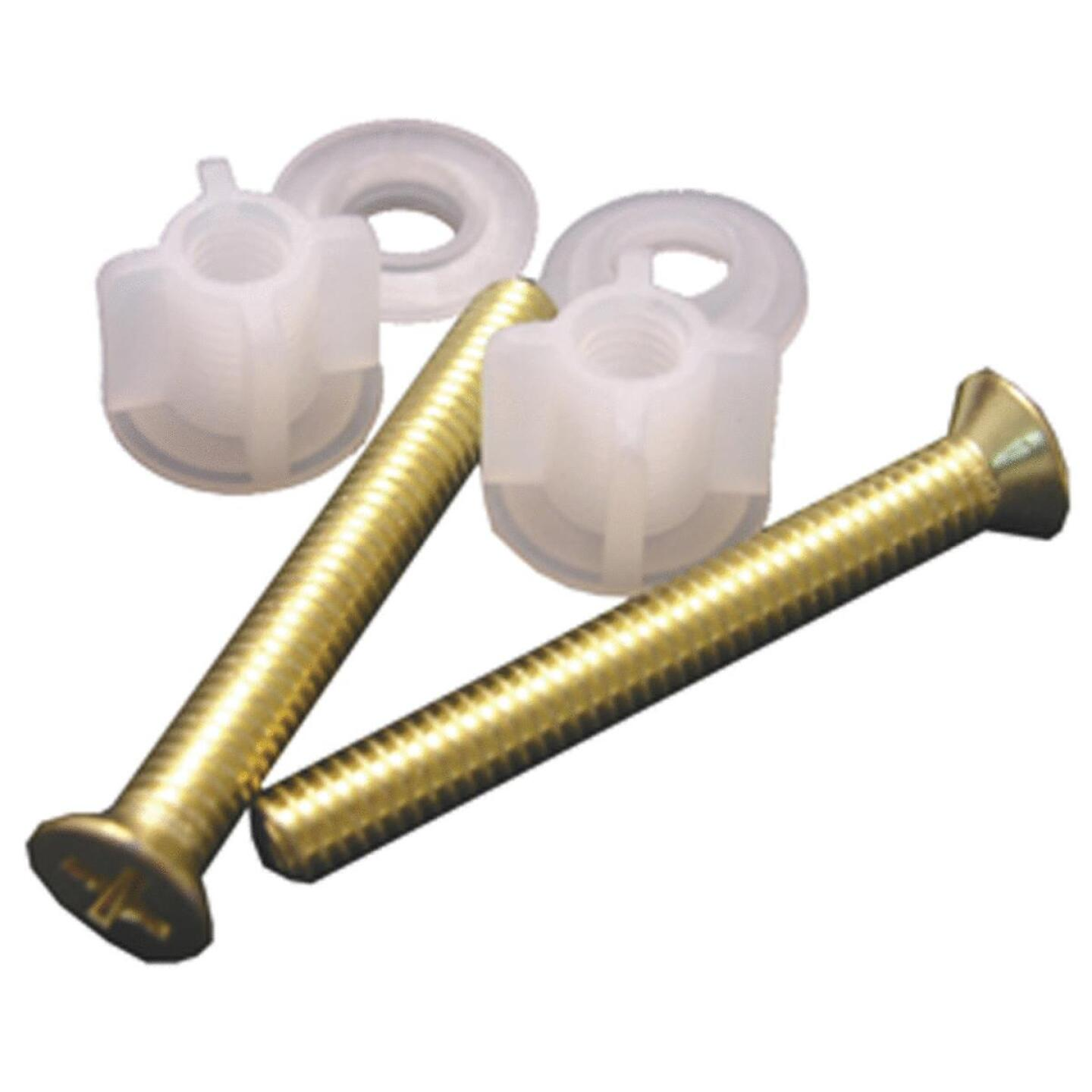 """Lasco 3/8"""" x 2-1/2"""" Polished Brass Metal Toilet Seat Bolt, Includes Nuts and Washers Image 1"""