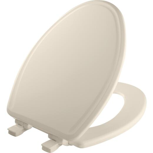 Mayfair Elongated Closed Front Slow Close Biscuit Wood Toilet Seat