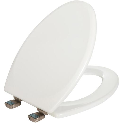 Mayfair Elongated Closed Front White Wood Toilet Seat With Brushed Nickel Hinge