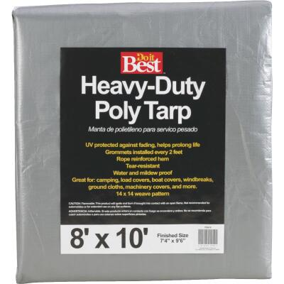 Do it Best Silver Woven 8 Ft. x 10 Ft. Heavy Duty Poly Tarp