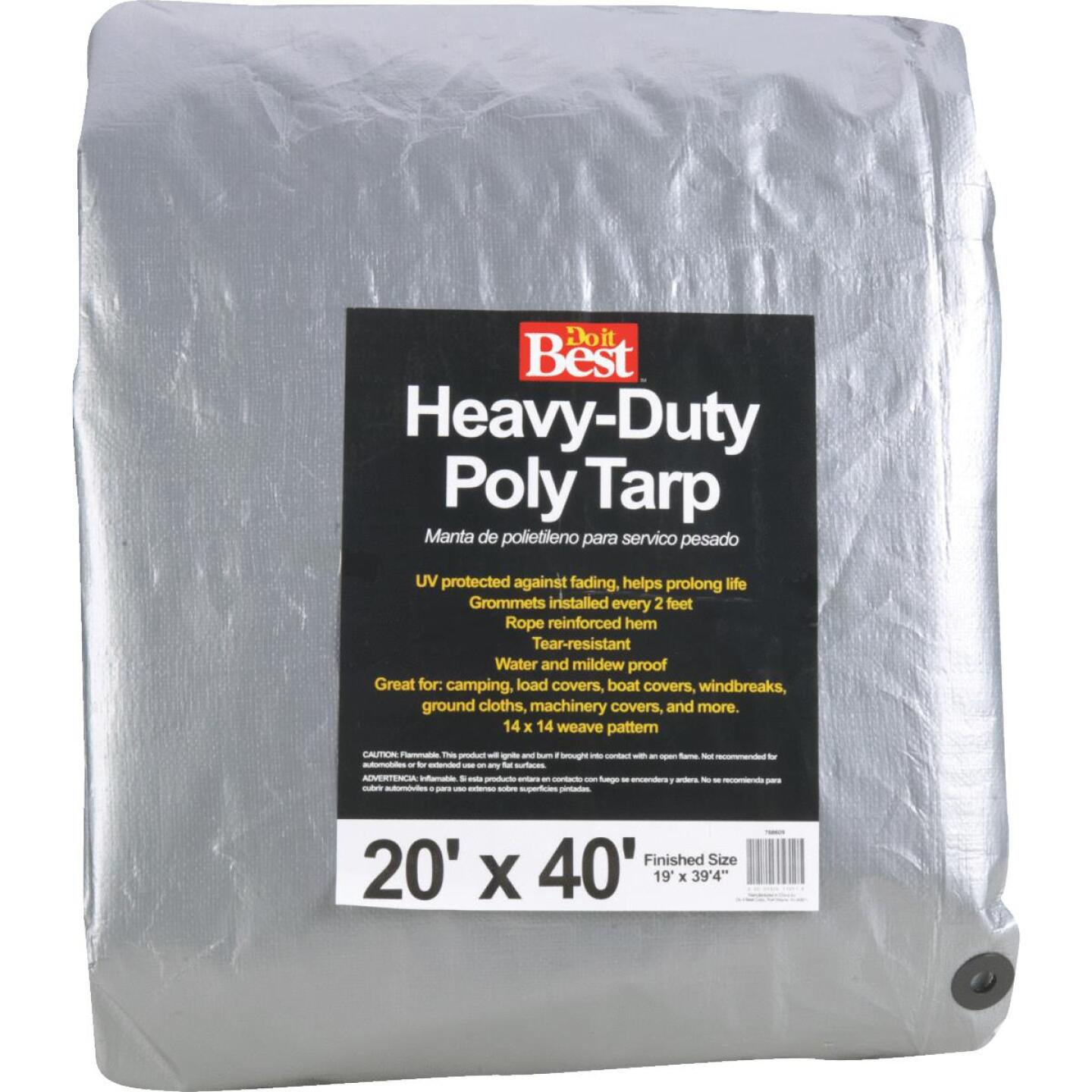 Do it Best Silver Woven 20 Ft. x 40 Ft. Heavy Duty Poly Tarp Image 1